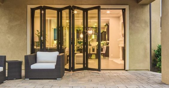 Glass walls doors and style on pinterest for Moving glass walls