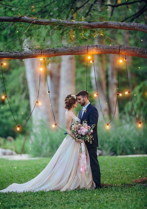iluminação de casamento varal de luzes