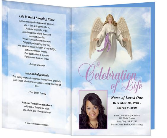 Spiritual Themed Funeral Programs Angel design template called - funeral programs samples