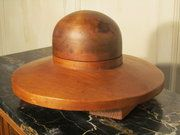 antique treenware large french fruit wood hat block