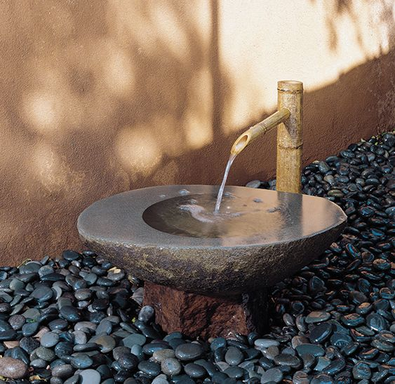 Basins stones and forests on pinterest - Steinbrunnen garten ...