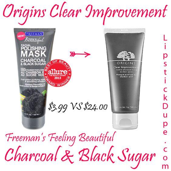 Origins Clear Improvement dupe Freemans Feeling Beautiful Charcoal and Black Sugar Mask $3.99 vs $24.00 #dupe #Dupes www.lipstickdupe.com