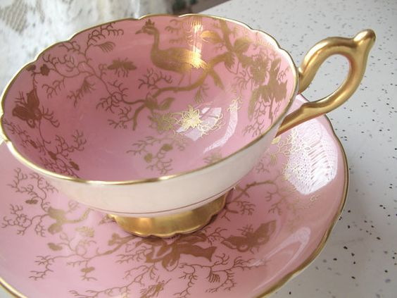 vintage pink and gold tea cup and saucer set by ShoponSherman, $79.00