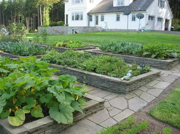 Raised Stone Garden Beds - traditional - landscape