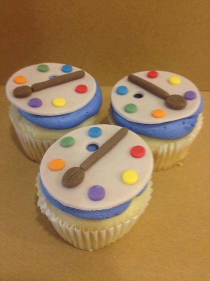 Art Paint Palette Cupcake Fondant Toppers 12 on Etsy, $18.00