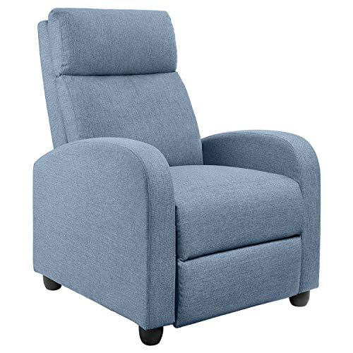 Jummico Fabric Recliner Chair Adjustable Home Theater Single Recliner Sofa Furniture With Thick Seat Cushion Living Room Recliner Recliner Chair Reclining Sofa