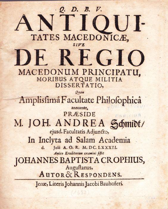1682 Croph, Antiquitates Macedonicae