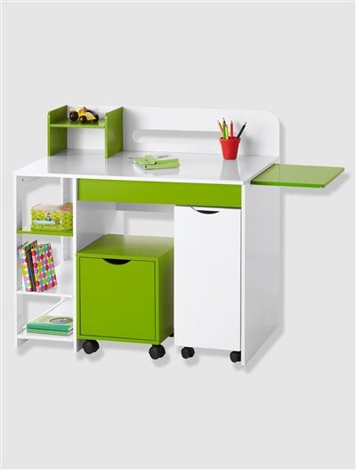 bureau polycube blanc vert vertbaudet enfant le coin. Black Bedroom Furniture Sets. Home Design Ideas