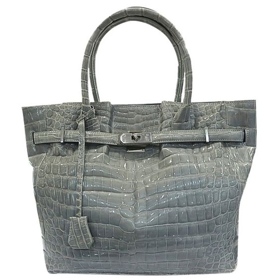 Pre-owned Brand New Crocodile Leather Shw Tote Bag ($6,001) ❤ liked on Polyvore featuring bags, handbags, tote bags, none, croc tote bag, pocket purse, leather tote bags, pre owned handbags and genuine leather handbags