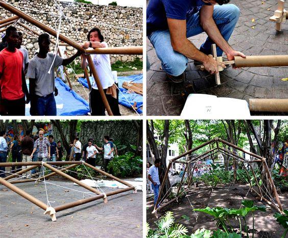 Haiti 2010. Fasi di montaggio per alloggi provvisori con strutture in tubi di cartone