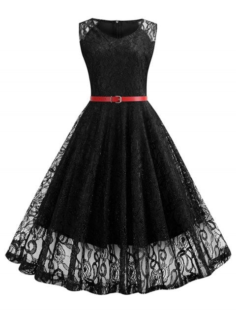 32 Off 2019 Sleeveless Belted Lace A Line Dress In Black Dresslily Fashion Shopping Dress Dresses Lace Dress Vintage Lace Summer Dresses A Line Dress