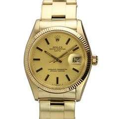 Rolex Yellow Gold Oyster Perpetual Date Wristwatch Circa 1973
