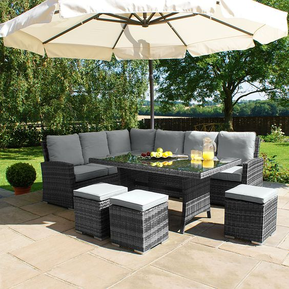 Maze Rattan - Kingston Corner Sofa Dining Set - Grey £999