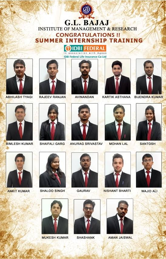 Glbimr Pgdm Students 2015 17 Selected In Idbi Federal Life
