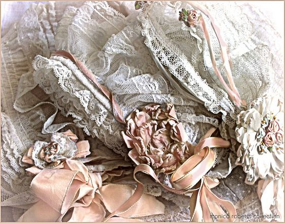 three antique Edwardian net and silk ribbon baby bonnets ... ca. 1900-10