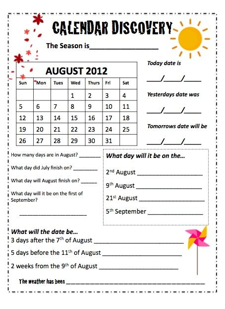 Teaching Maths with Meaning: Calendars - Monthly Worksheets $2.50