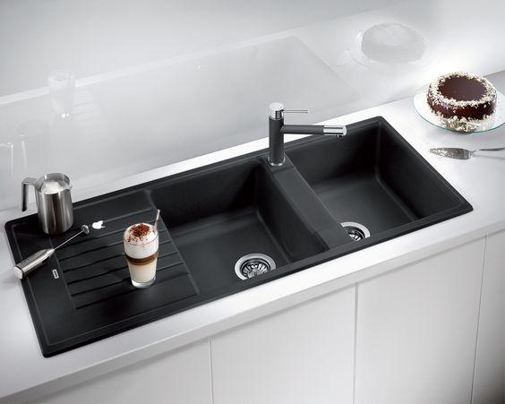 Black Composite Granite Sink Contemporary White Kitchen Blanco Zia 210 Black Granite Sink Granite Sink Black Kitchen Sink
