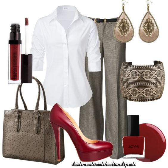 """grey & burgundy"" by enjoytheview on Polyvore"