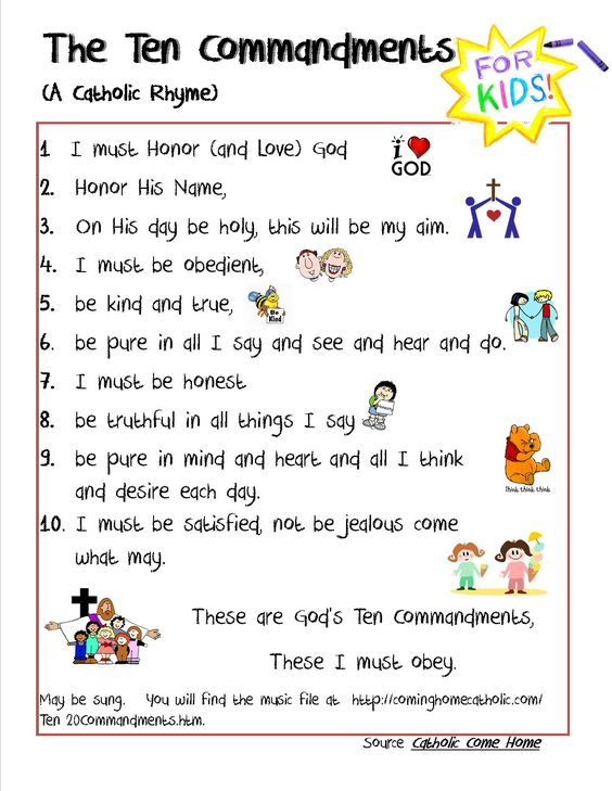 Catholic 10 Commandments For Kids. Credit To This Site For