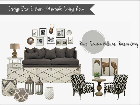 Interior Design Mood Board Warm Neutral Living Room Gray Cream Brown Bla
