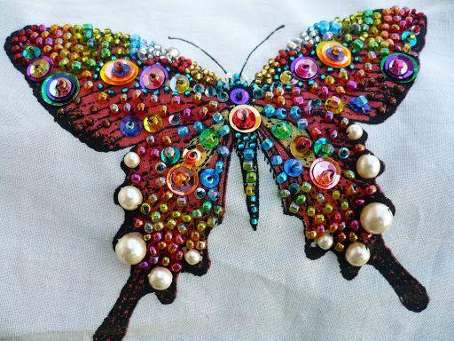 ooh, Sparkly colors! Beaded butterflies - NEEDLEWORK