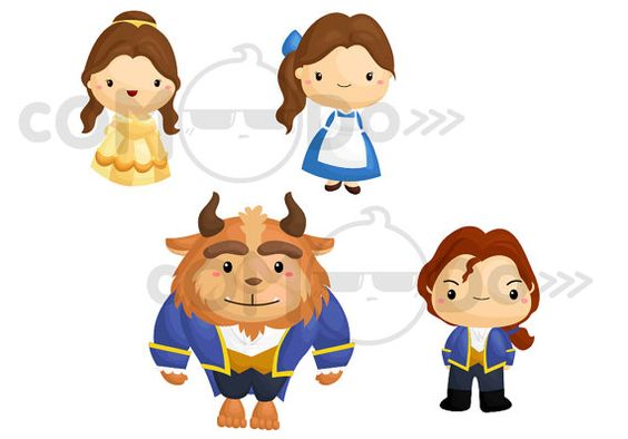 Beauty And The Beast Cute Clipart Digital Clip Art By Comodo777
