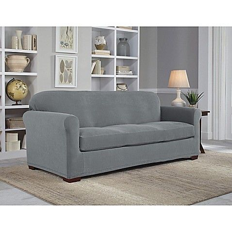 Perfect Fit Neverwet Luxury 2 Piece Sofa Slipcover In Grey