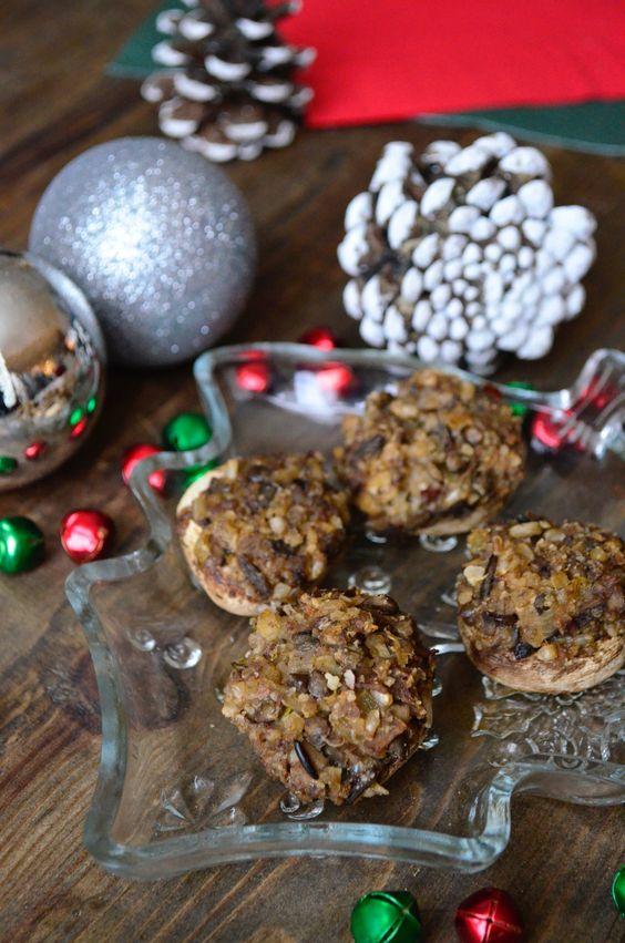 Vegan Gluten Free Almond Parmesan Stuffed Mushrooms #veganappetizer #veganglutenfreerecipes #christmascocktailparty