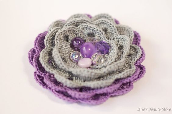 Violet and Grey Crochet Brooch Flower Brooch by JanesBeautyStore