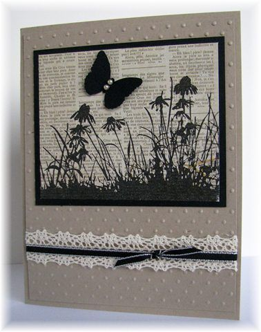 stamped image is from Inkadinkado. Butterfly is Martha Stewart punch.  Colors are kraft and black.