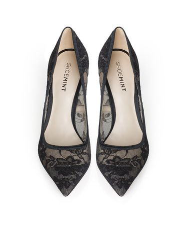 Ornate lace gives this classic pointy pump feminine charm.