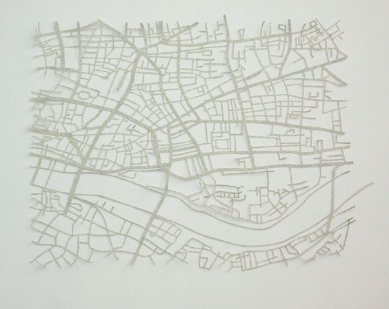 Rosana Ricalde, Cidades Invisíveis - London, 2012, City plant done with cut-out text from Italo Calvino book (Invisible Cities), 100 x 110 cm.