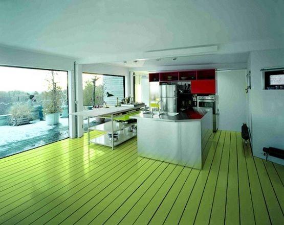 Apple green floor paint ideas for kitchen