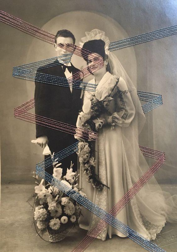 """Photo brodée """"sylvianne et germain"""" par CecileBgravures sur Etsy https://www.etsy.com/fr/listing/483316044/photo-brodee-sylvianne-et-germain"""