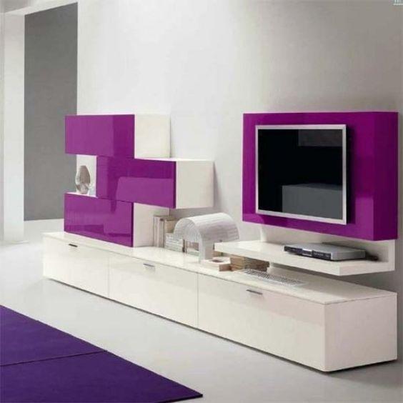 tv-ständer designer-möbel lila-weiß-wohnzimmer | hovel studio ...