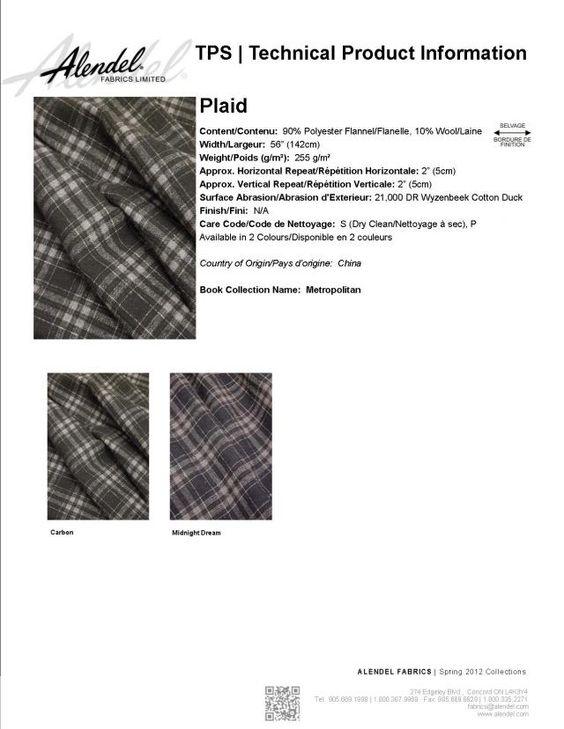 Alendel Fabrics Plaid TPS | Technical Product Information Sheet