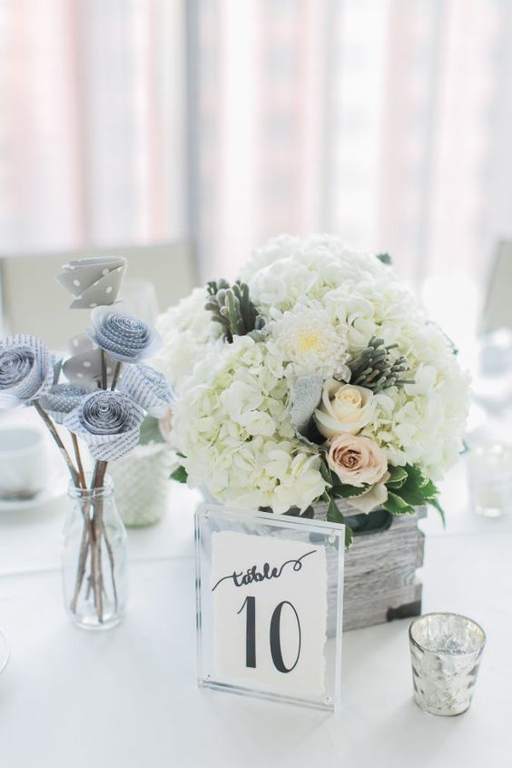 White hydrangeas and white roses are such a classy centerpiece: http://www.stylemepretty.com/canada-weddings/ontario/toronto/2016/08/11/romantic-rooftop-wedding-at-malaparte/ Photography: Rhythm - http://rhythm-photography.com/