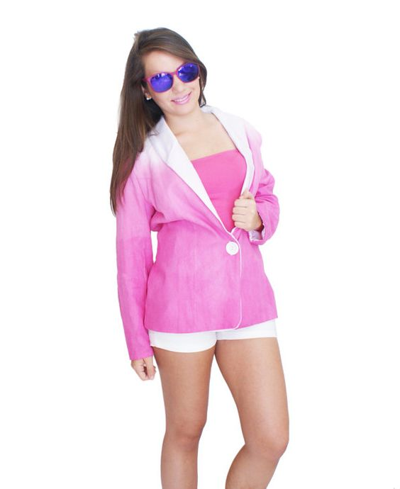 Hot Pink Jacket Ombre Effect by fashionmeme on Etsy, $19.90 #summer #ombre #pink #dye #linen #fun #spring #fashion