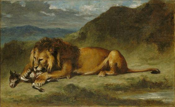 Eugene Delacroix Poster - Lion Devouring A Goat