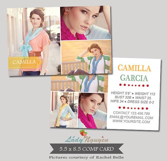 Modeling photoshop and cards on pinterest for Free model comp card template psd
