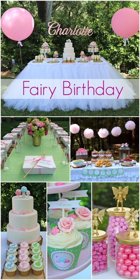 fairy girl birthday with beautiful birthday cake and party decorations ...