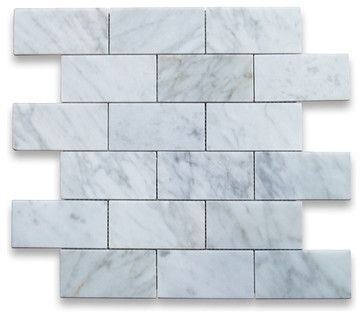Carrara Marble Subway Brick Mosaic Tile 2x4 Polished - traditional - Floor Tiles - Stone Center Online