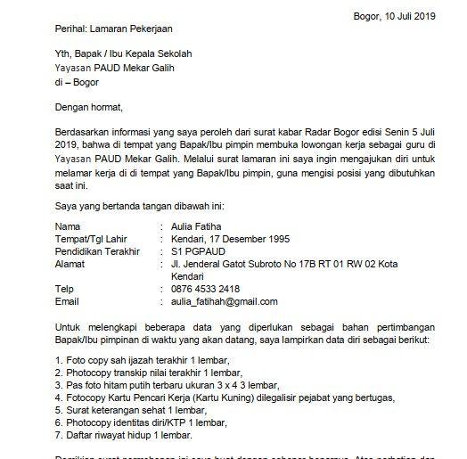 Contoh Surat Lamaran Pekerjaan Untuk Menjadi Guru Contoh Lif Co Id