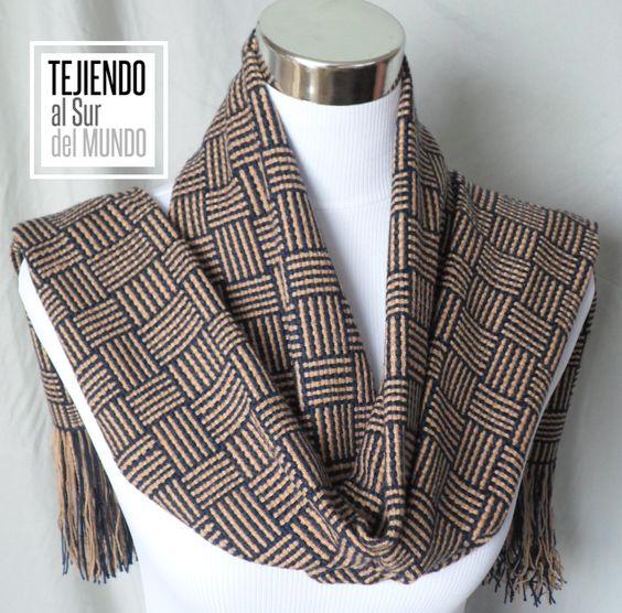 Bufanda a telar con hermoso diseño barracán. handwoven scarf with ...