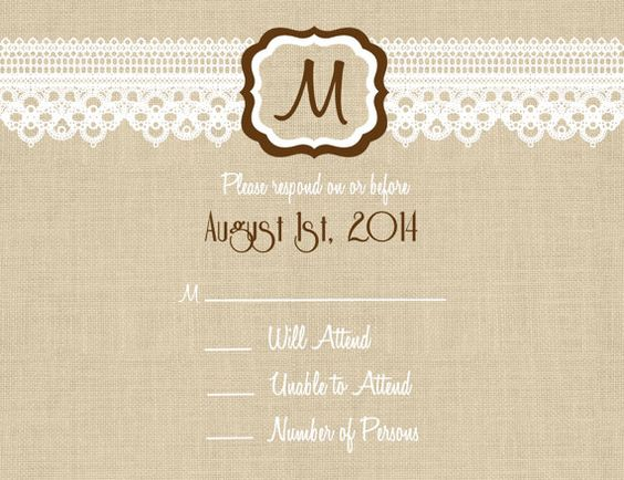 Custom Burlap and Lace Photo Wedding Invitation by Joyinvitations. I would like to see this in a different font.
