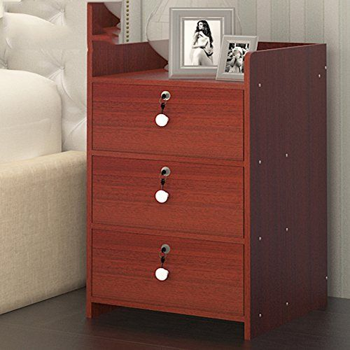Gfyrhcgdfhjdgvf Modern Simple Bedside Cabinet Solid Wood Lock