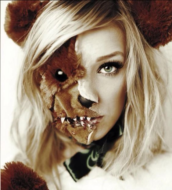 Halloween bear makeup!! So cute, yet scary ;)