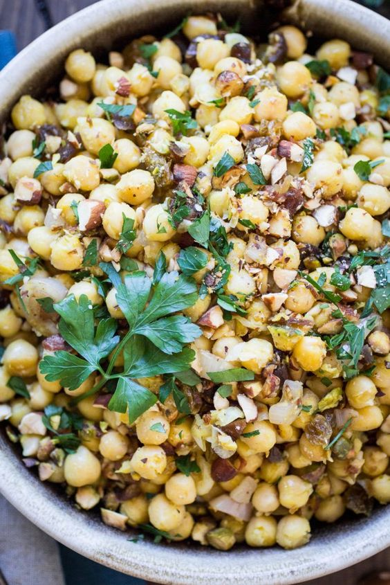 Dried dates and crunchy pistachios make this Moroccan Chickpea Salad both sweet and savory! Things are cooling off around here...