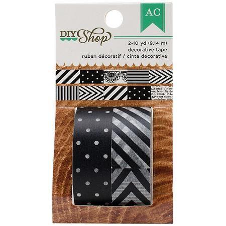 DIY Shop Washi Tape 10yd Roll, Black and White, 2pk