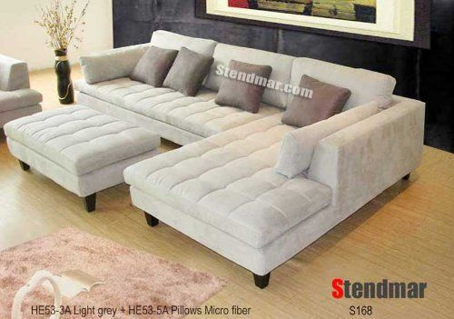 3pc New Modern Gray Microfiber Sectional Sofa S168RG STENDMAR//. : stendmar sectional sofa - Sectionals, Sofas & Couches